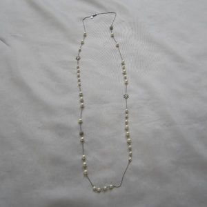 Tory Burch NWOT Crystal Pearl Rosary Logo Necklace